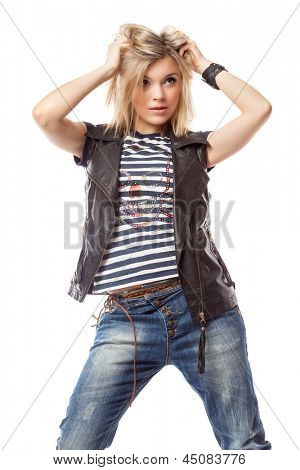 Young blond woman. Isolated on white background
