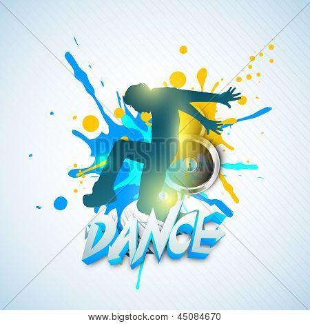 Musical dance party concept. flyer or banner with dancing boy on grungy colorful background.