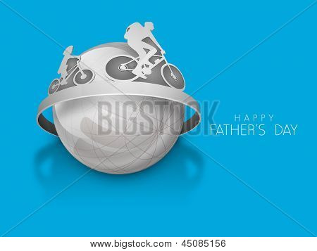 Happy Fathers Day concept with father and son doing cycling over globe on blue background.