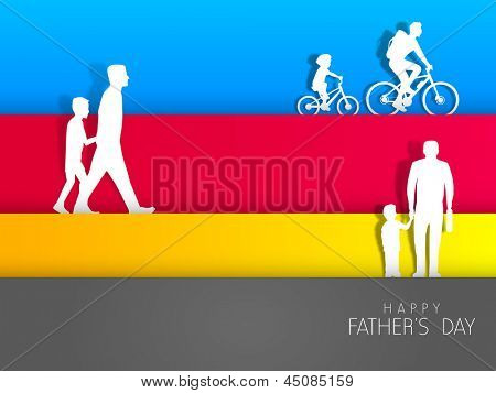 Happy Fathers Day background with father and son in various activities on colorful abstract background.