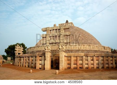 'Great Stupa' at Sanchi was originally commissioned by the emperor Ashoka the Great in the third century BCE poster