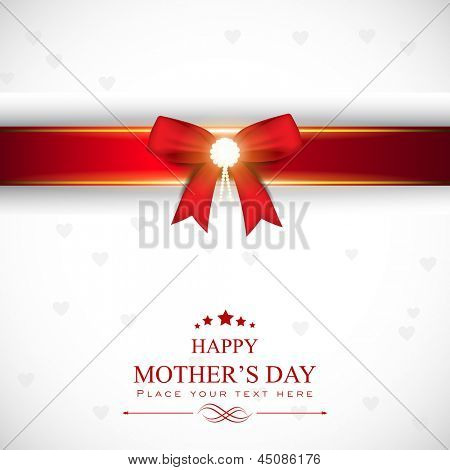 Happy Mothers Day abstract background, flyer, banner or poster with red ribbon.