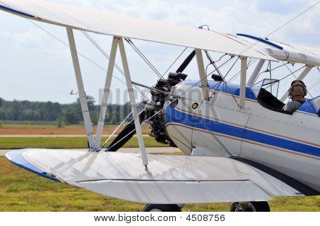 Pt-17 Biplane Ready For Take-off