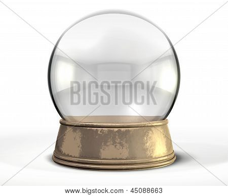 A regular empty snow globe or crystal ball with a worn metal copper base on an isolated background poster