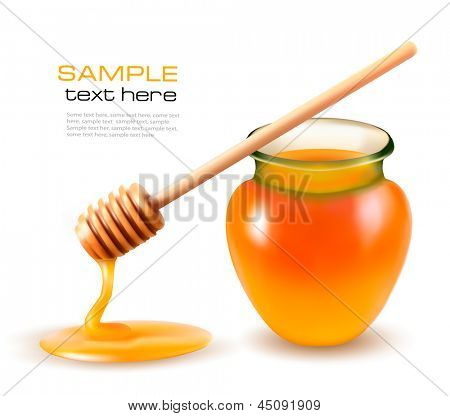 Jar of honey and a dipstick. Vector.