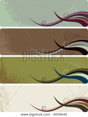 Four Banners - Abstract Grunge Background With Waves