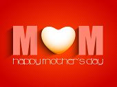 Happy Mothers Day concept with text MOM on red background. poster