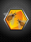 Abstract colorful metallic background with two working bees standing on a honeycomb cell poster