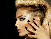 Fashion Rocker Style Model Girl Portrait. Hairstyle. Rocker or Punk Woman Makeup, Hairdo and black Nails. Smoky Eyes poster