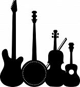 A group of silhouetted stringed instruments including an electric guitar a banjo a violin and a ukulele poster