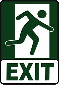 Emergency Exit Sign vector image dark green and white poster