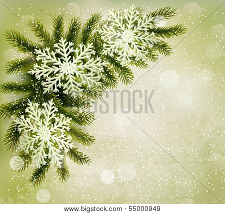 Christmas retro background with christmas tree branches and snowflakes. Raster version of vector
