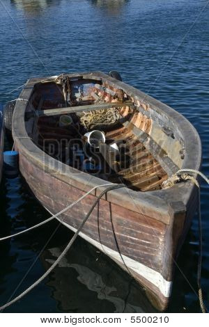 Rowing fishing boat in Kalk Bay Harbour Cape Town South Africa poster