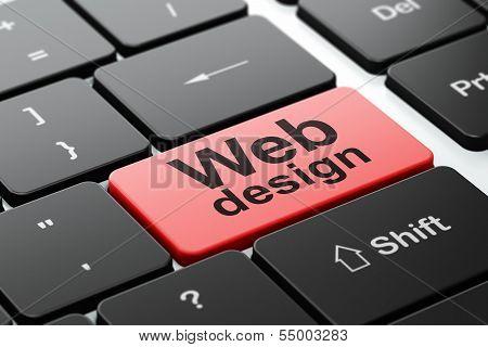 Web design concept: Web Design on computer keyboard background