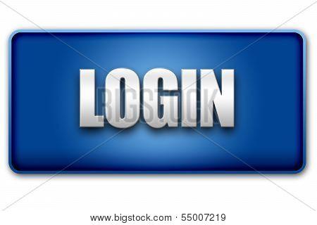 Login 3D Blue Button On White Background