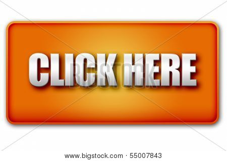 Click Here 3D Orange Button On White Background
