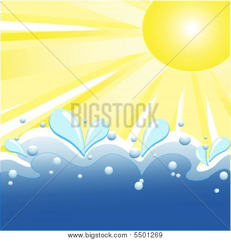 Vector Illustration Of Summer Background With Sun