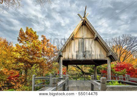 Pavillion Deck Surrounded By Autumn Foliage