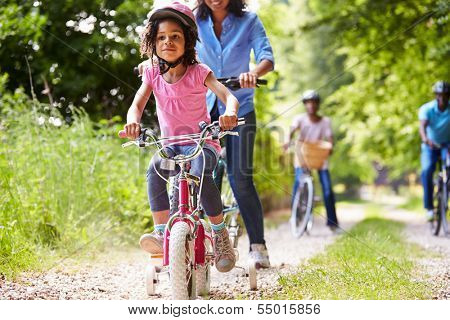 Multi Generation African American Family On Cycle Ride