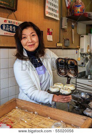 Japanese Sweet Sop in Front of Dazaifu Tenmangu