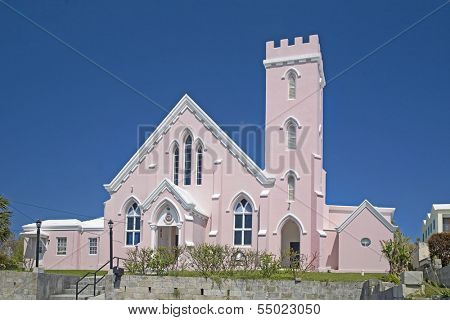 The pink Salvation Army Church in St. George's, Bermuda.