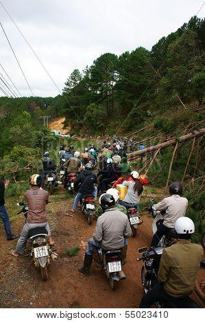 Motorbike In Traffic Jam On Mountain Pass