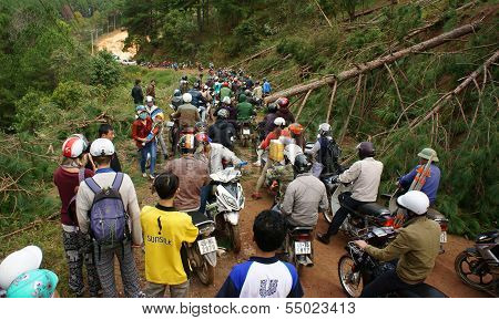 Motorcycle In Traffic Jam On Mountain Pass