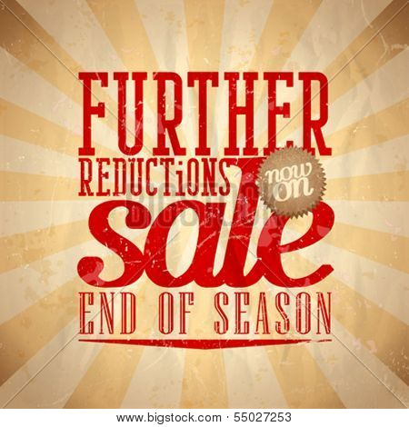 Further reductions sale design in retro style. Eps10