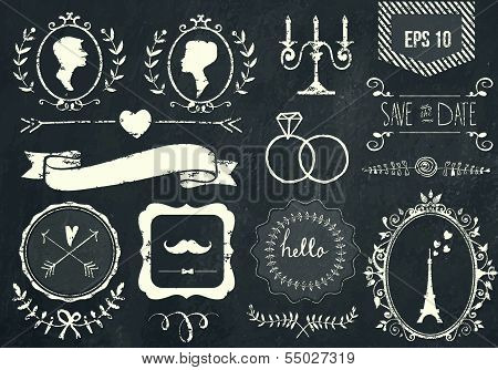Retro chalk elements and icons set