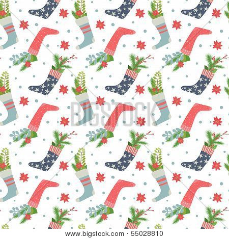 Christmas stockings seamless pattern