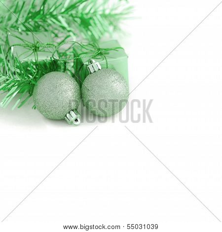Two Green Ball With Gift Box New Year And Christmas