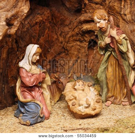 Classic Nativity With Manger Where There Are Also The Ox And The Donkey