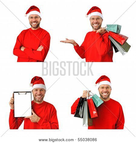Set Of Smiling Christmas Man Wearing A Santa Hat Isolated On The White Background