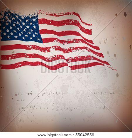 American flag vintage textured background.
