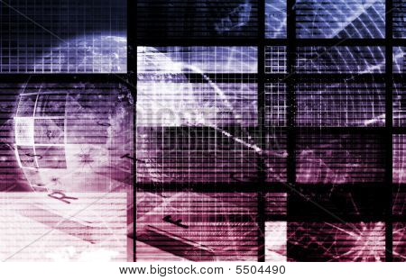 Purple Digital Data Transfer Network as Abstract poster