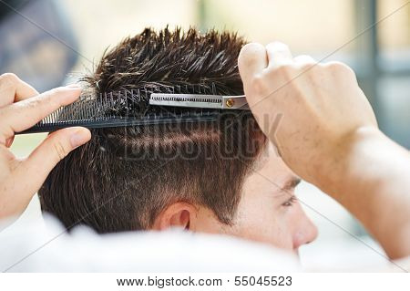 Hairdresser making haircut to young man at beauty parlour