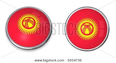 button style banner in 3D of Kyrgyzstan poster