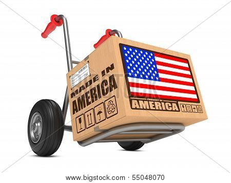 Made in USA - Cardboard Box on Hand Truck.