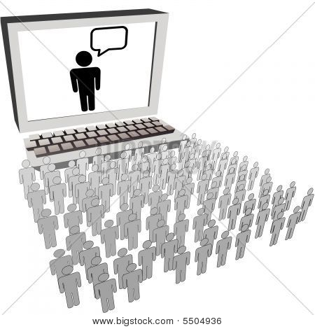 Large Audience People Symbols Watch Computer Monitor