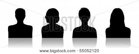 Women Id Silhouette Portraits Set 2