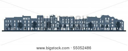Night City Life On A Street Facade Background