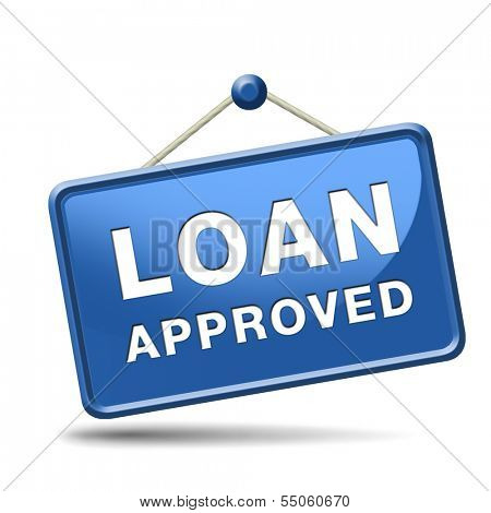 loan approved icon or button loaning money for car house education or approve mortgage funding