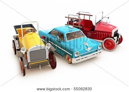 Retro vintage collection of toy cars