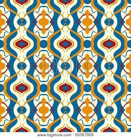 Multicolor vector pattern with Arabic motif.