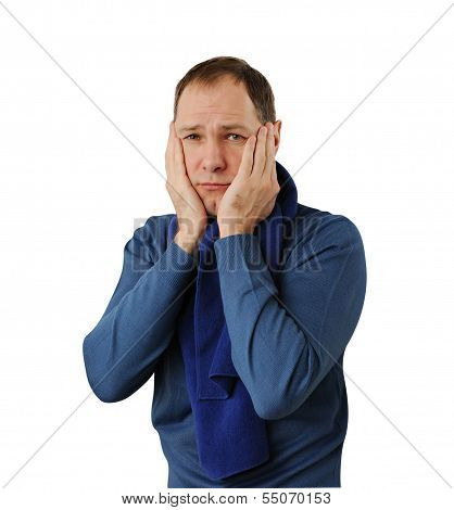 Man Holding His Head Isolated On White Background