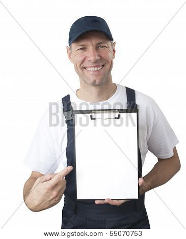 Portrait Of Smiling Worker In Blue Uniform With Tablet Isolated On White Background