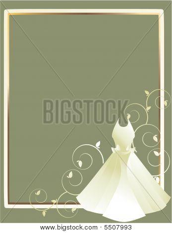 Wedding Dress Frame Gray Background