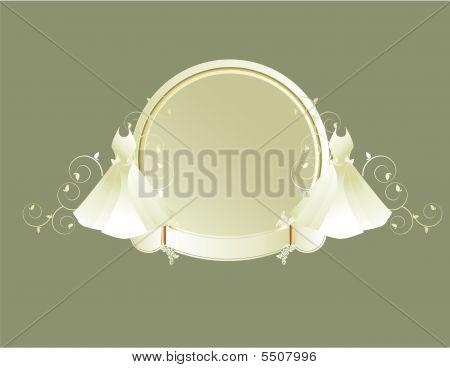 Wedding Dress Circular Frame Gray Background