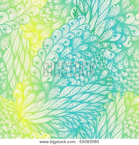 Seamless floral vintage yellow and blue gradient doodle pattern with spirals poster