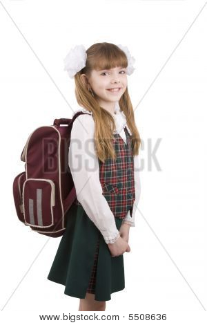 Young school girl ready for school. Little pupil is going to school. Happy young schoolgirl with satchel white background. Portrait of smiling little girl in school uniform with backpack. Education learning teaching. poster